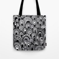 alisa burke Tote Bags featuring black and white scallops by Alisa Burke