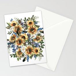 Charming Boho Watercolour Sunflowers Bouquet Stationery Cards
