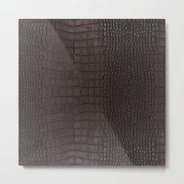 Alligator Brown Leather Print Metal Print