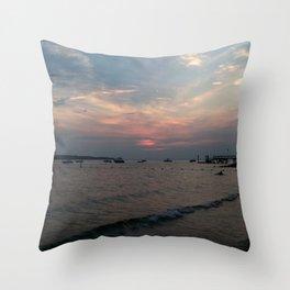 West Neck Sunset Throw Pillow
