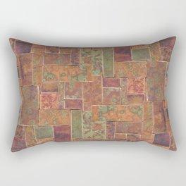 Red Patina Patchwork Rectangular Pillow