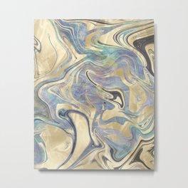 Liquid Gold Mermaid Sea Marble Metal Print