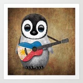Baby Penguin Playing Filipino Flag Acoustic Guitar Art Print