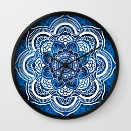 Mandala Cerulean Blue Colorburst Wall Clock