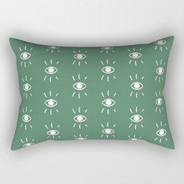 Eye Pattern in Green Rectangular Pillow