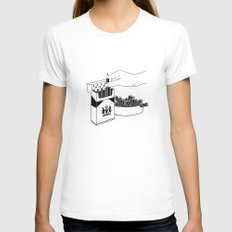 Art Addiction MEDIUM White Womens Fitted Tee