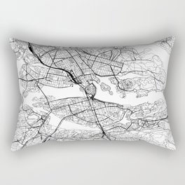 Stockholm White Map Rectangular Pillow