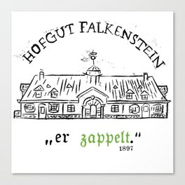 """Hofgut Falkenstein """"er Zappet"""" Black on White Canvas Print"""
