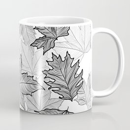 Autumn Leaves Black and White Coffee Mug