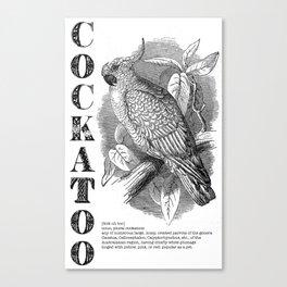 Cockatoo Mock Dictionary Print Canvas Print