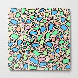 Sea Glass - Blues Aqua Green on Peach Metal Print