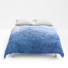 Enchanted Indigo - watercolor + doodle Comforters