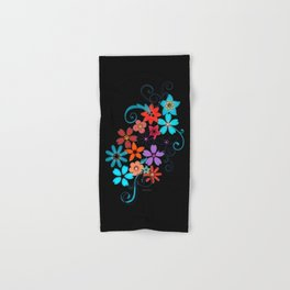 Colorful Flowers on black background Hand & Bath Towel