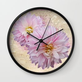 Pink Dahilas Wall Clock