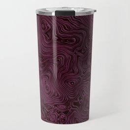 Royal Maroon Silk Moire Pattern Travel Mug