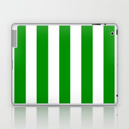 Islamic green - solid color - white vertical lines pattern Laptop & iPad Skin