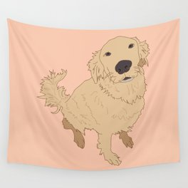 Golden Retriever Love Dog Illustrated Print Wall Tapestry