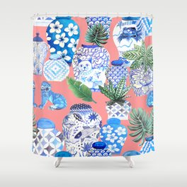 Coral pink Chinoiserie Chinese ginger jars... Shower Curtain