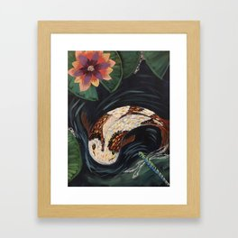 Koi Fish and Dragonfly Framed Art Print
