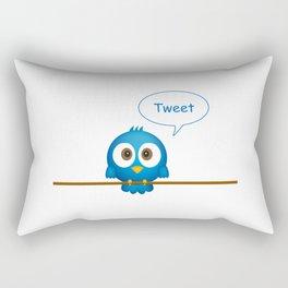 Blue bird tweeting cartoon Rectangular Pillow