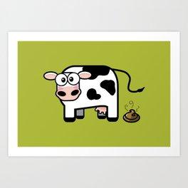 Pooping Cow Art Print