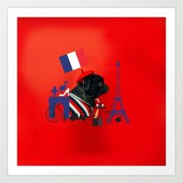 Proud Pug from Paris Art Print