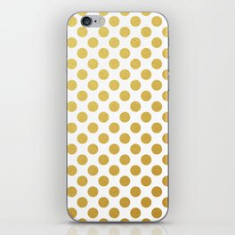 Gold dots on white iPhone Skin