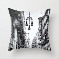 barcelona Throw Pillows featuring Barcelona  by Monochrome by Juste Pixx