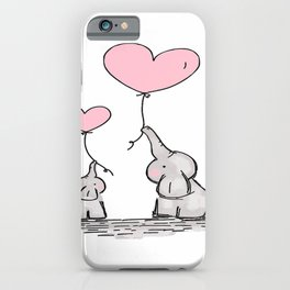 Cute Mom Baby Elephant Pink Heart Balloons Shirt T-Shirt iPhone Case
