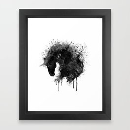 Black and White Horse Head Watercolor Silhouette Framed Art Print