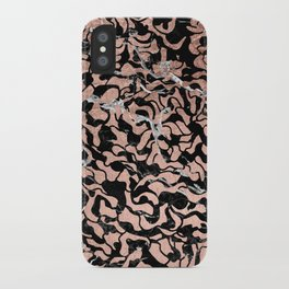 Trendy faux rose gold geometric black marble illustration pattern iPhone Case