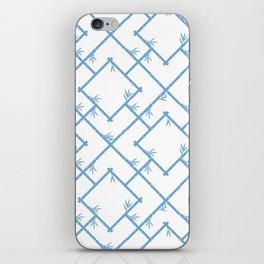 Bamboo Chinoiserie Lattice in White + Light Blue iPhone Skin