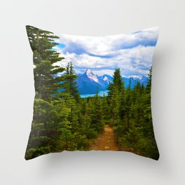 Maligne Lake from Above on the Bald hills hike in Jasper National Park, Canada Throw Pillow