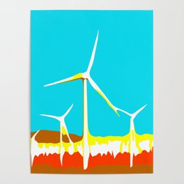 wind turbine in the desert with blue sky Poster
