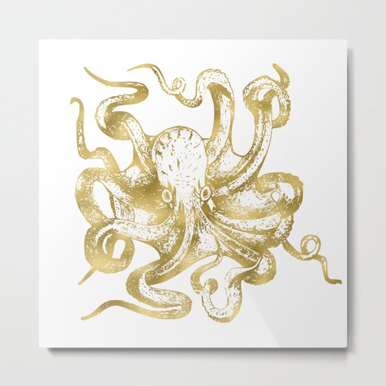 Gold Octopus Metal Print