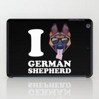 german shepherd iPad Cases featuring I Love German Shepherd modern v2 by Vehicle