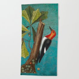 Red Headed Woodpecker with Oak, Natural History and Botanical collage Beach Towel