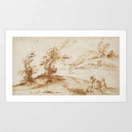 Bolognese School, 17th century, Landscape with Trees, a Farm and Figures Art Print