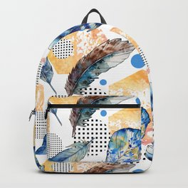 Geometrical blue yellow watercolor bohemian feathers Backpack