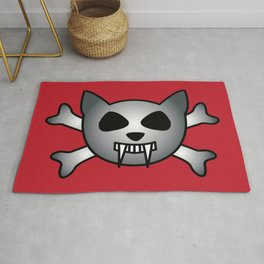 Vampire Kitty Cat Skull and Crossbones Rug