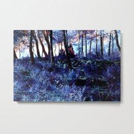 Alien planet sunset in the forest blue indigo purple Metal Print