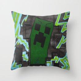 8bit Creeper Spray Painting Throw Pillow