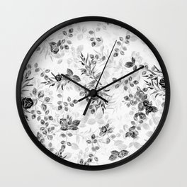 Classic Minimal Floral Watercolor Rose Pattern Wall Clock