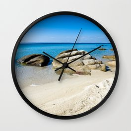 Beautiful beach at the Mediterranean Sea Wall Clock