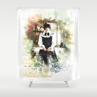 lolita Shower Curtains featuring Lolita DaVinci by © maya lavda / wocado
