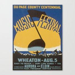 Vintage poster - Du Page County Centennial Music Festival Canvas Print