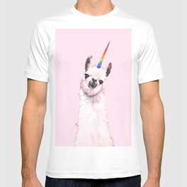 Unicorn Llama in Pink T-shirt