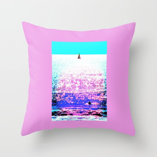 Sailboat and Swimmer (2d) Throw Pillow