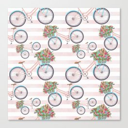 Bicycle with Flowers Painting Canvas Print