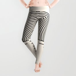 Geometric Lines in Black and Beige 5 (Sunrise and Sunset Abstraction) Leggings
